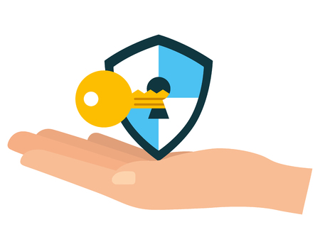 hand with shield guard and key vector illustration design Illustration