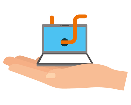 hand lifting laptop computer with worm virus infect vector illustration design