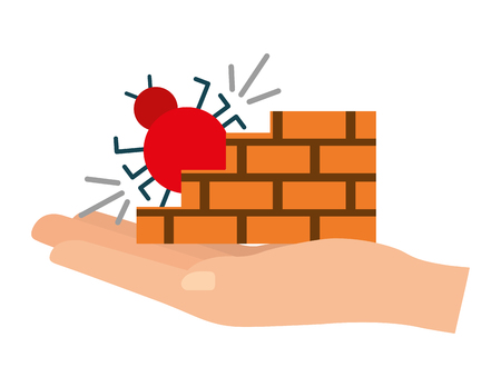 hand lifting bug virus attack with wall vector illustration design