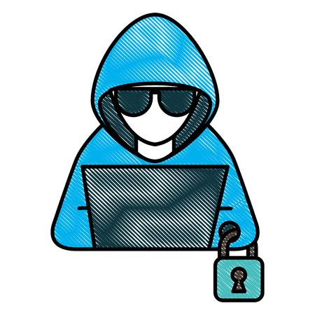 hacker man working laptop padlock cyber security vector illustration drawing Illustration