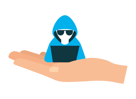 hand lifting hacker with laptop character vector illustration Stok Fotoğraf - 100189883