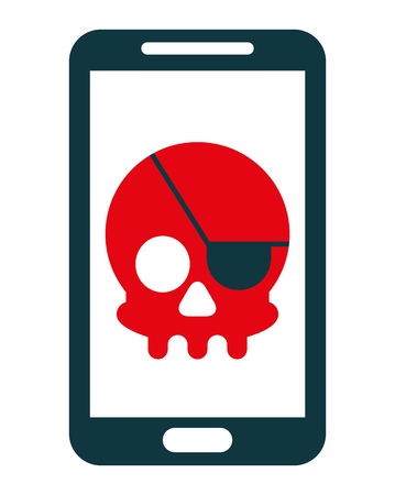 smartphone device with skull piracy vector illustration design Ilustração
