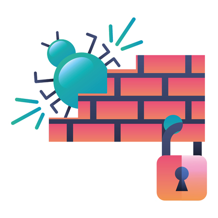 bug virus attack with wall and padlock vector illustration design