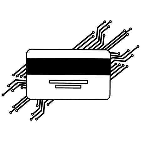 credit card with electric circuit vector illustration design