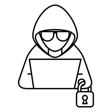 hacker with laptop and padlock character vector illustration Çizim