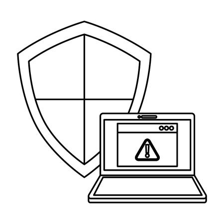 shield guard with laptop vector illustration design Illustration