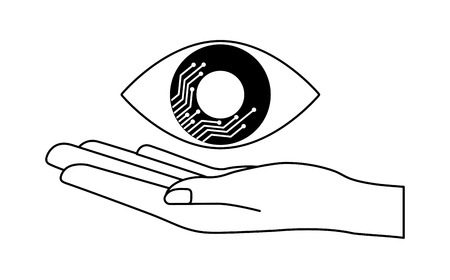 cyber security hand holding eye surveillance vector illustration outline