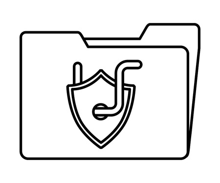 cyber security folder data shield protection with worm vector illustration outline Stock Illustratie