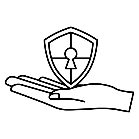 cyber security hand holding shield protection keyhole vector illustration outline