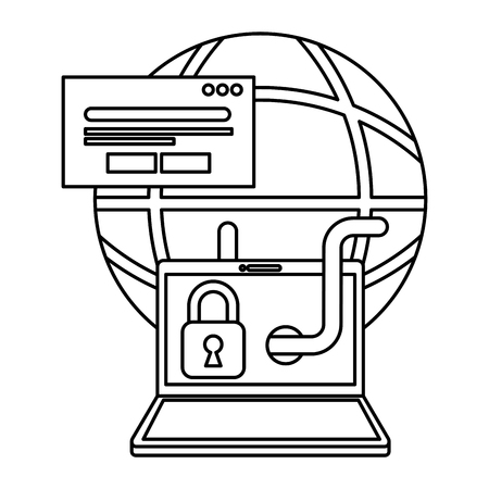 cyber security global laptop worm padlock card bank vector illustration outline Illustration