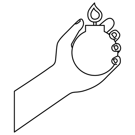 hand holding bomb explode image vector illustration outline