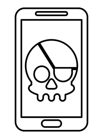 cyber security smartphone skull piracy crime hack vector illustration outline