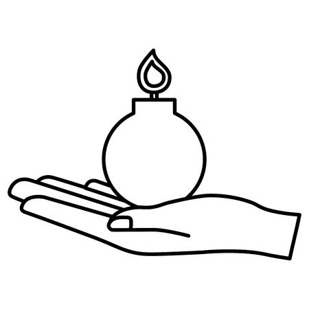 hand holding bomb explode image vector illustration outline Stock Vector - 100190052