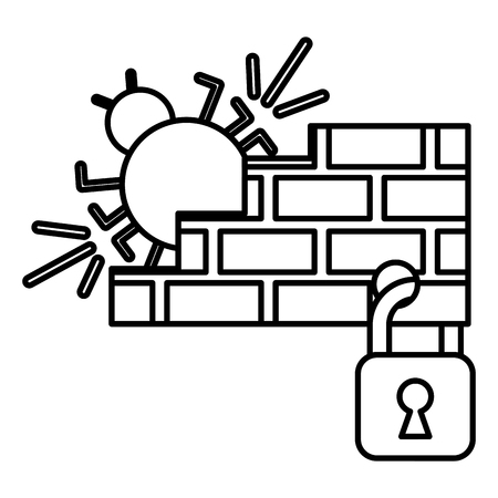 cyber security firewall bug padlock protection software vector illustration outline