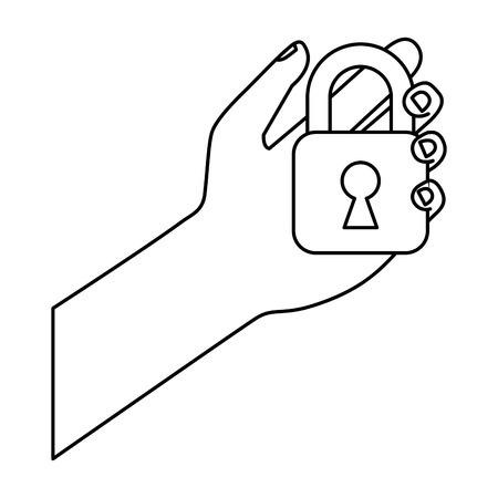cyber security hand holding padlock safety system vector illustration outline Illustration