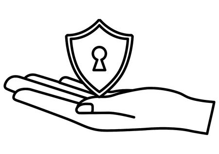 cyber security hand holding shield keyhole vector illustration outline 向量圖像