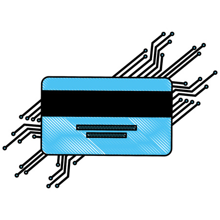 cyber security bank credit card payment protection vector illustration drawing