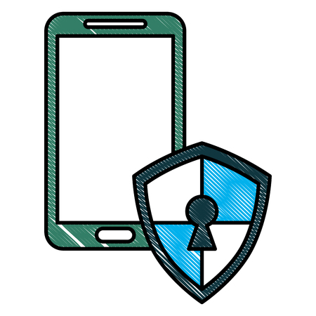 smartphone shield keyhole protected cyber security vector illustration drawing Illustration