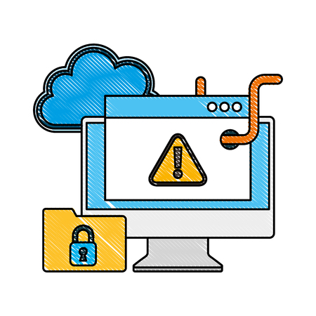 cyber security computer website worm infected warning files protection vector illustration drawing Illustration