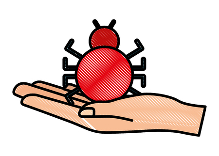Cyber security hand holding bug virus technology vector illustration drawing.