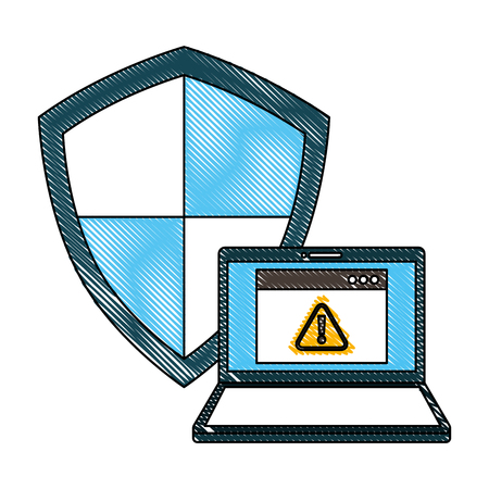Cyber security laptop warning shield protection page internet vector illustration drawing