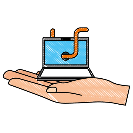 hand holding laptop with worm virus cyber security vector illustration drawing Illustration
