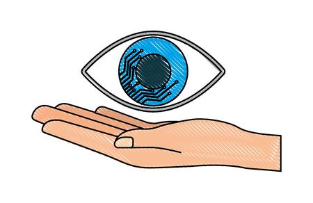 Cyber security hand holding eye surveillance vector illustration drawing Ilustração