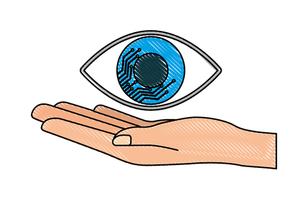 Cyber security hand holding eye surveillance vector illustration drawing Illustration