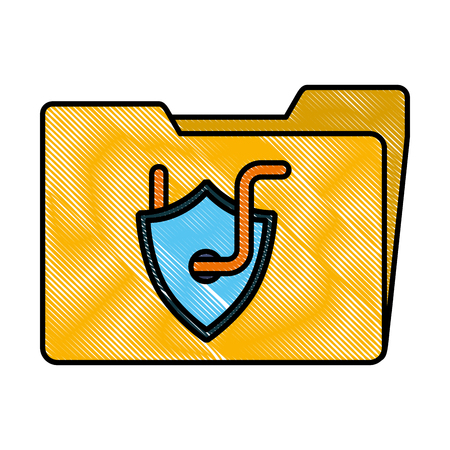 Cyber security folder data shield protection with worm vector illustration drawing