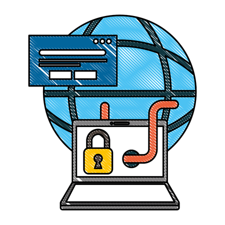 cyber security global laptop worm padlock card bank vector illustration drawing Stock Illustratie