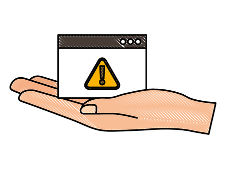 hand holding website warning sign cyber security vector illustration drawing Illustration