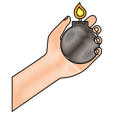 hand holding bomb explode image vector illustration drawing