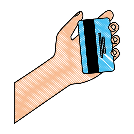 cyber security hand holding credit card bank vector illustration drawing