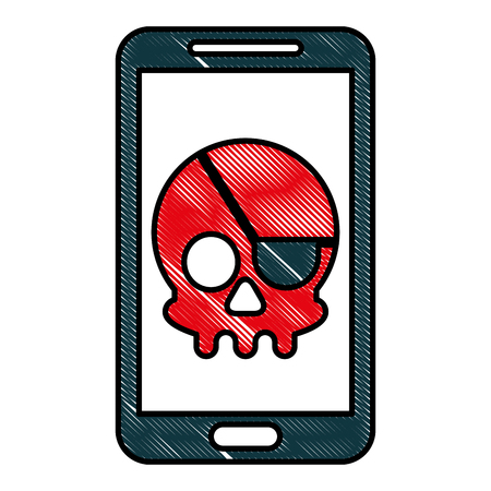 cyber security smartphone skull piracy crime hack vector illustration drawing