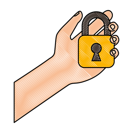 cyber security hand holding padlock safety system vector illustration drawing