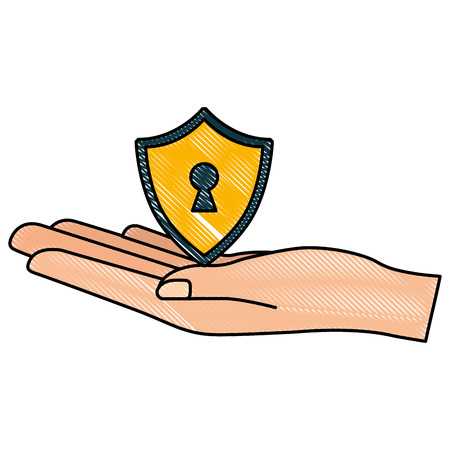 cyber security hand holding shield keyhole vector illustration drawing
