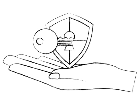 hand holding shield protection key on keyhole access cyber security vector illustration sketch
