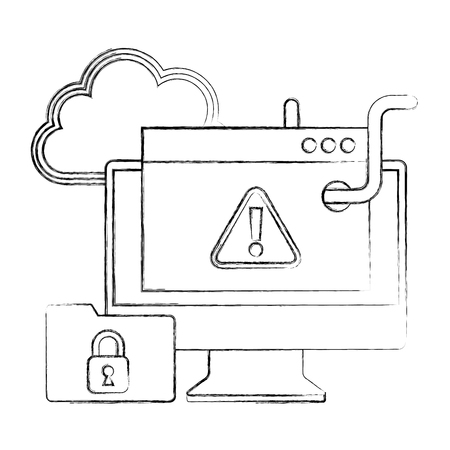 cyber security computer website worm infected warning files protection vector illustration sketch