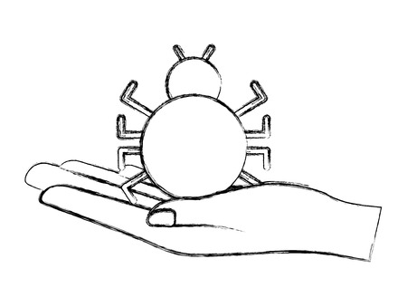 cyber security hand holding bug virus technology vector illustration sketch