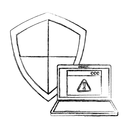 cyber security laptop warning shield protection page internet vector illustration sketch Ilustração
