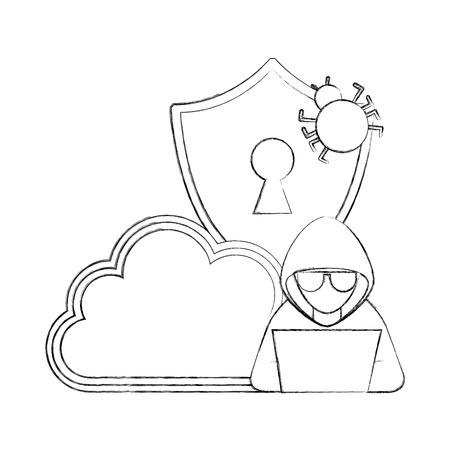 cyber security hacker laptop cloud storage and shield bug vector illustration sketch