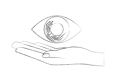 cyber security hand holding eye surveillance vector illustration sketch Illustration