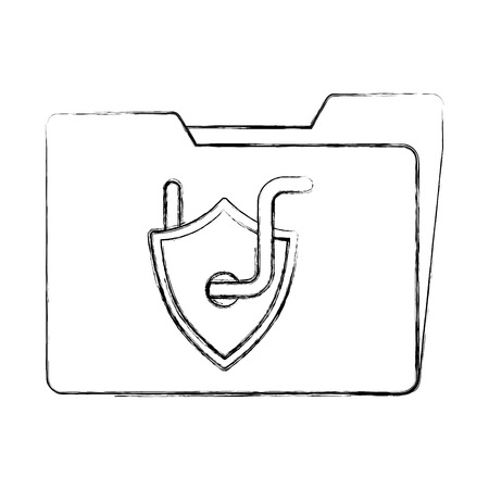 cyber security folder data shield protection with worm vector illustration sketch