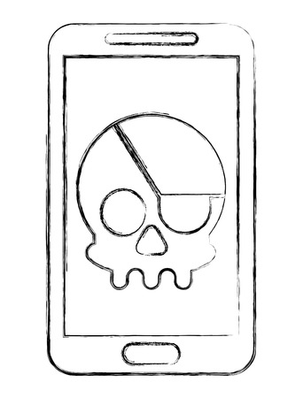 cyber security smartphone skull piracy crime hack vector illustration sketch