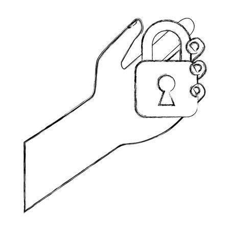 cyber security hand holding padlock safety system vector illustration sketch Illustration