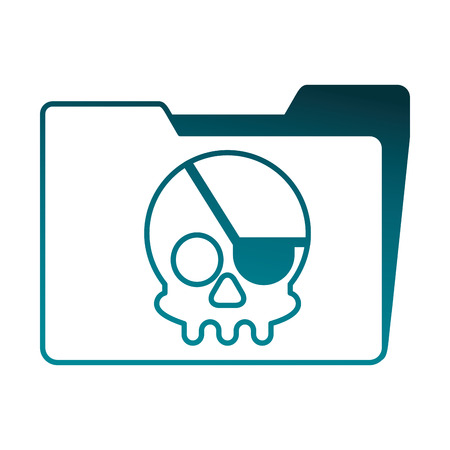 folder with skull piracy vector illustration design