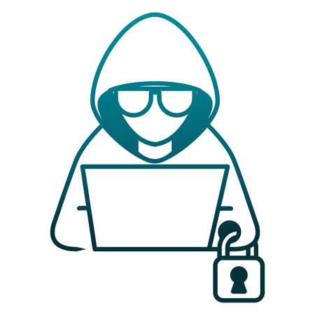 hacker with laptop and padlock character vector illustration Stok Fotoğraf - 100271821