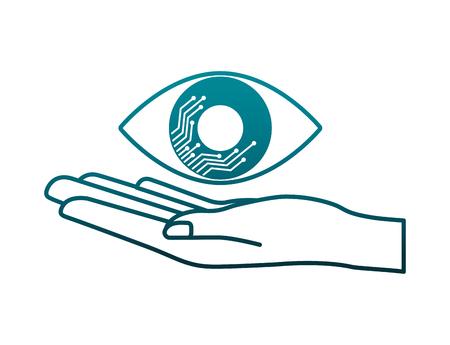 hand lifting eye human isolated icon vector illustration design