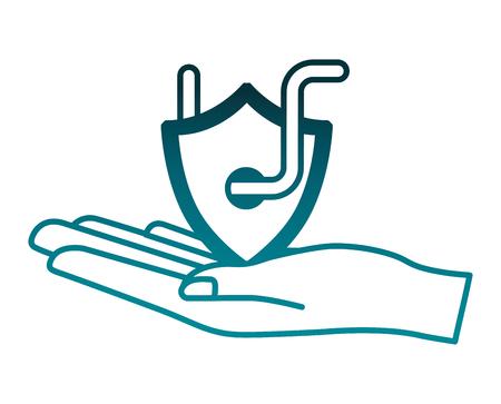 hand lifting shield guard with worm virus vector illustration design Illustration