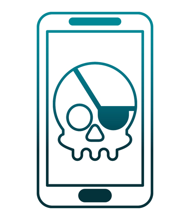 smartphone device with skull piracy vector illustration design Illustration